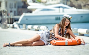 Picture pose, lies, hands, smile, lifebuoys, girl, summer, model
