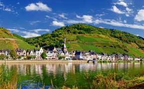 Picture the sky, the sun, clouds, trees, mountains, river, hills, shore, field, home, Germany, plantation, Mosel, …