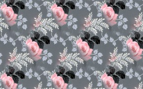 Picture pattern, roses, texture, grey background, floral pattern