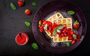 Wallpaper Strawberry, Dessert, Waffles