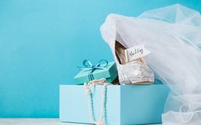 Picture box, gift, shoes, beads, Blue, box, wedding, Valeria Maksakova