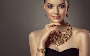 Picture look, girl, style, model, Shine, hand, makeup, ring, hairstyle, lips, bracelet, decoration, blue eyes, shoulders, ...