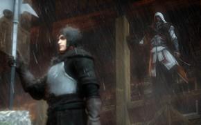 Picture rendering, rain, hood, Assassin's Creed, ezio, Ezio Auditore da Firenze