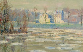 Picture landscape, river, home, picture, Gustave Loiseau, The Oise In Winter, Gustave Loseau