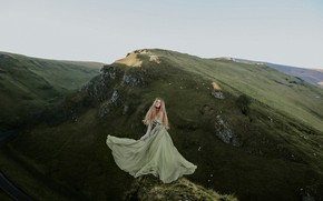 Picture girl, mountains, nature, mood, the situation, dress, Rosie Hardy