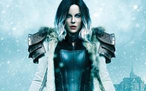 Wallpaper costume, fiction, coat, fantasy, castle, Kate Beckinsale, snow, girl, the film, Selene, hairstyle, winter, Underworld: ...