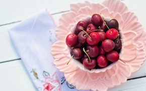 Picture cherry, berries, table, Board, food, Breakfast, plate, Cup, dishes, bowl, cherry, saucer, napkin, delicious, composition, …