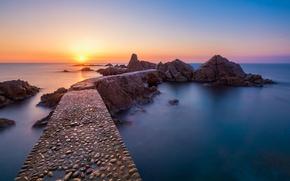 Picture sea, sunset, coast, Spain, Spain, Catalonia, Development Rosamar