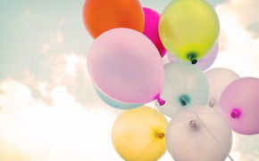 Wallpaper summer, the sun, happiness, balloons, stay, colorful, summer, sunshine, happy, vintage, balloon