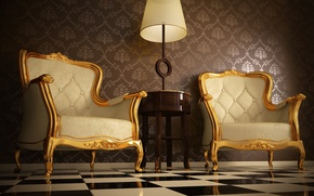 Wallpaper painted gold wood, Armchairs with ornaments, quality leather, light wooden table, floor with square mosaics, ...