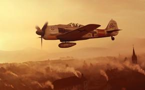 Wallpaper fighter, Germany, artwork, Air force, WWII, Focke -Wulf, Fw.190A-9, JG1