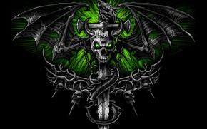 Wallpaper skeleton, sword, wings, dragon, sake