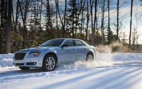 Picture winter, snow, Chrysler, sedan, 300, Glacier