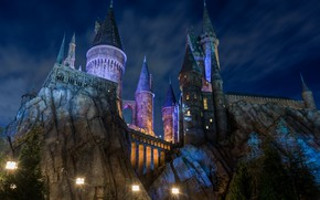 Picture night, the city, castle, lights, Disneyland