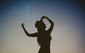 Picture the sky, stars, night, silhouette