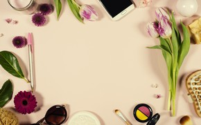 Picture flowers, glasses, Style, phone, cosmetics