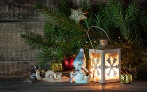 Picture new year, spruce, flashlight, decor