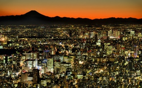 Picture lights, Tokyo, panorama, megapolis