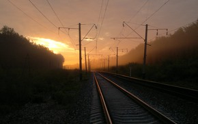 Picture Sunrise, Morning, Dawn, Railways, Misty morning