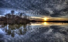 Wallpaper lake, the sky, morning