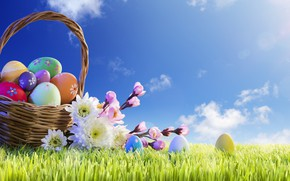Wallpaper spring, basket, the sun, Easter, Easter, grass, Happy, flowers, the painted eggs, spring, flowers, eggs, ...