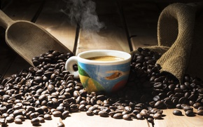 Picture coffee, grain, Cup, cup, beans, coffee