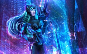 Picture gun, bodysuit, weapon, League of Legends, LOL, oppai, Nanotech Caitlyn