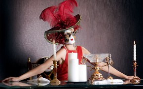 Picture girl, table, woman, model, hat, candles, feathers, hands, dress, mask, girl, hat, sitting, in red, …