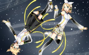 Picture anime, art, two, Vocaloid, Vocaloid, ringtones, Kagamine Len, Kagamine Rin
