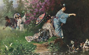 Picture French painter, French painter, Philippe Jacques Linder, Philippe Jacques Linder, In the Japanese garden, In …