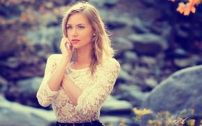 Picture Girl, Beautiful, Autumn, Blonde, Lips, Forest, Eye, North Debczynska