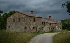 Picture The evening, Italy, Track, Italy, Evening, Italia, Road, Old house, Cloudy Sky, Our house