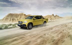 Picture mountains, yellow, movement, vegetation, Mercedes-Benz, dust, plain, pickup, primer, 2017, X-Class