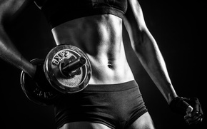 Picture Female, black and white, fitness, abs, dumbells