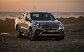 Picture Mercedes-Benz, grey, coast, pickup, X-Class, wave, rocks, 2017, silver, stones