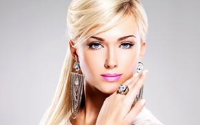 Picture look, face, model, earrings, lipstick, blonde, lips