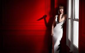 Picture girl, room, red, shadow, figure, dress, window, Rose Byrne, Rose Byrne
