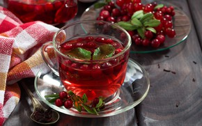 Picture berries, tea, drink, mint