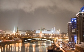 Picture river, Kremlin, Moscow, night, lights, the city, Moscow, The Kremlin, Russia