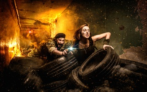Picture girl, fire, tires, sparks, flashlight, guy