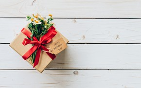 Wallpaper Gift, Holiday, Flowers, Bow
