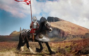 Wallpaper field, the sky, clouds, landscape, mountains, fantasy, horse, black, armor, flag, warrior, fantasy, helmet, rider, ...