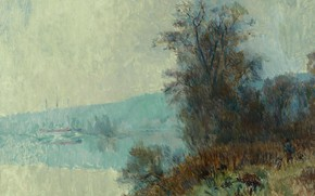 Picture landscape, nature, picture, The Banks Of The Seine, Albert Charles Lebar, Albert Lebourg