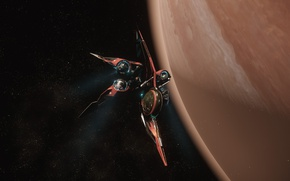 Picture space, surface, planet, starship, Star Citizen, Khartu-Al