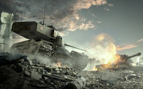 Wallpaper World of Tanks, WoT, AMX 50 B, E 100, World Of Tanks, Wargaming Net