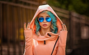 Picture women, sunglasses, portrait, painted nails, depth of field, Ekaterina Enokaeva, dyed hair