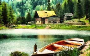 Picture Figure, Lake, Boat, Art, Art, Lake, Boat