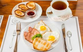 Picture scrambled eggs, bacon, tea, pancakes, Breakfast, jam