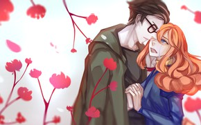 Picture girl, romance, anime, art, pair, guy, m0queur
