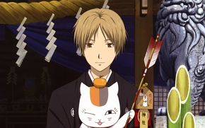 Picture cat, temple, arrow, statue, guy, amulet, wink, Mandarin, Natsume Yuujinchou, The Natsume book of friendship, …